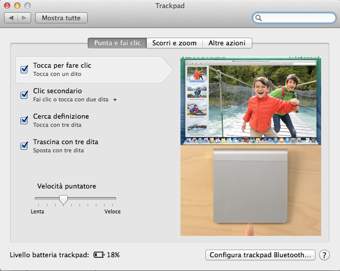 os mavericks preferenze trackpad