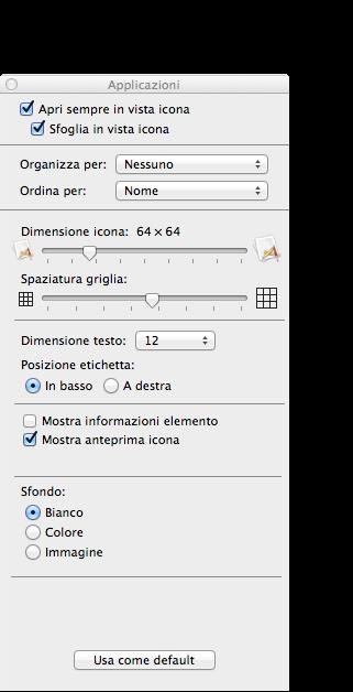 os x mavericks opzioni vista icone