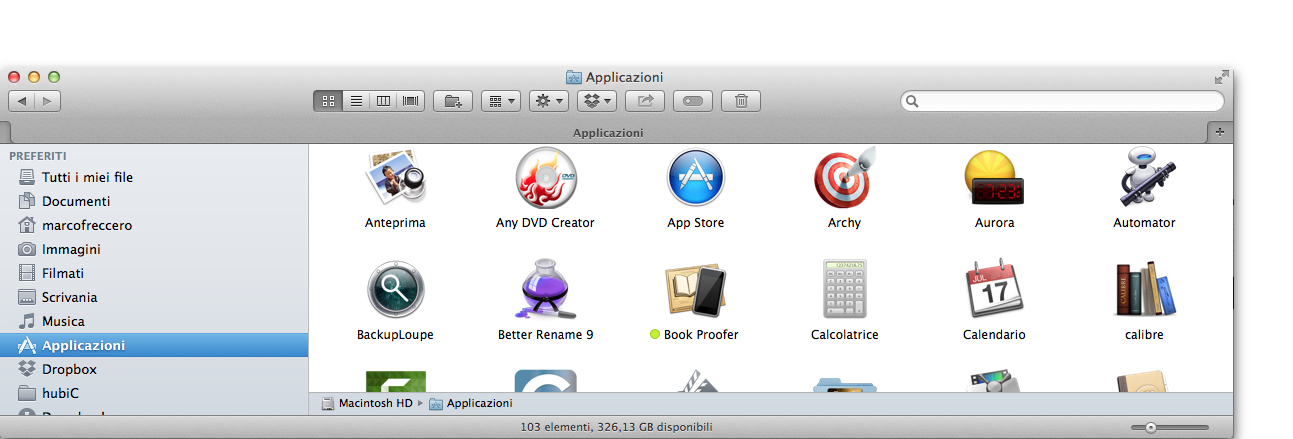 vista a icone os x mavericks