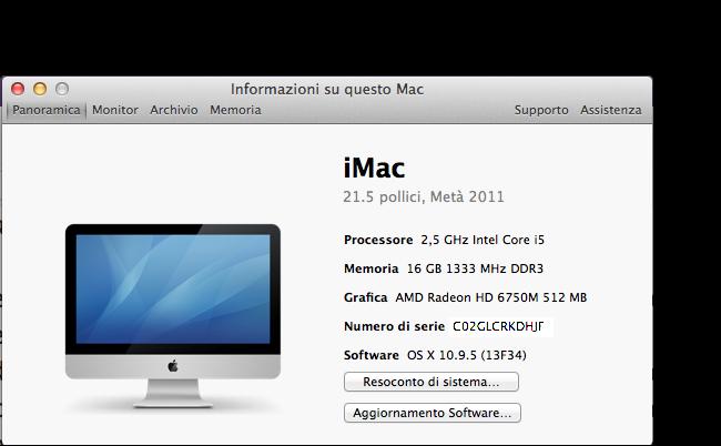 os x mavericks informazioni su questo mac