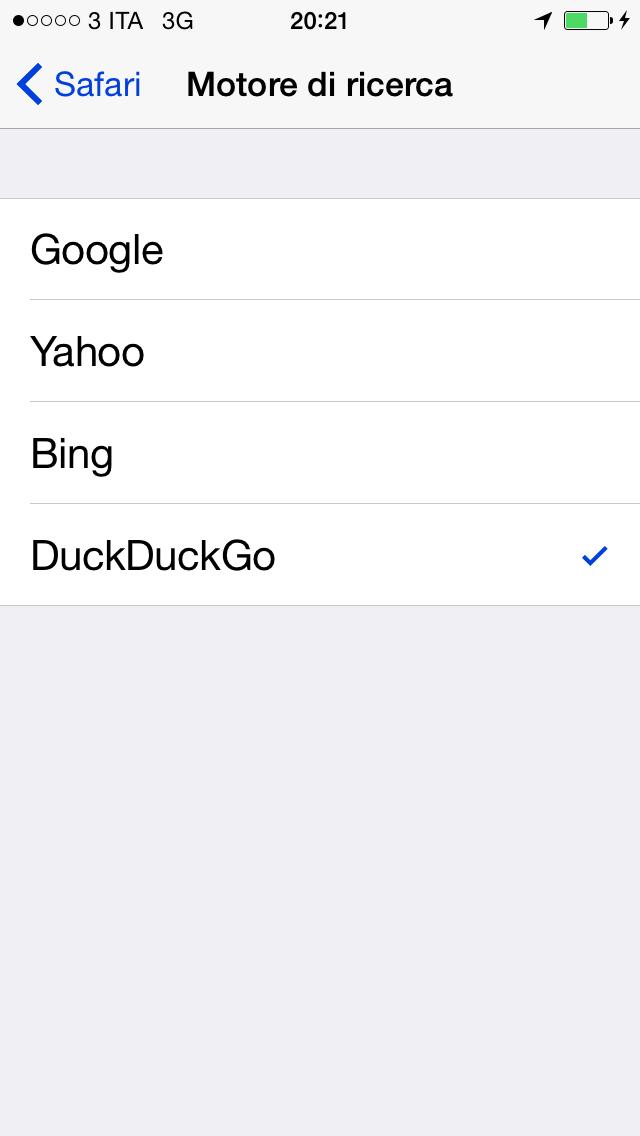 iOS 8 motore di ricerca alternativo