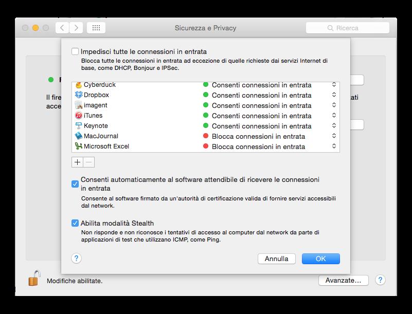 opzioni firewall os x yosemite