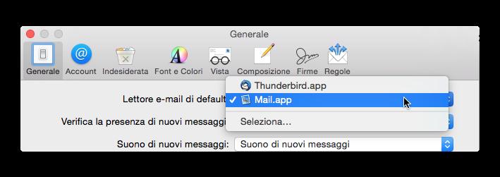scheda generale mail os x