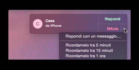 rifiuta telefonata dal mac