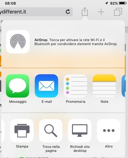 menu condivisione safari iOS 9