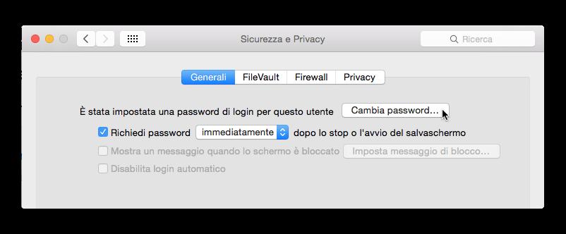cambiare password di amministratore