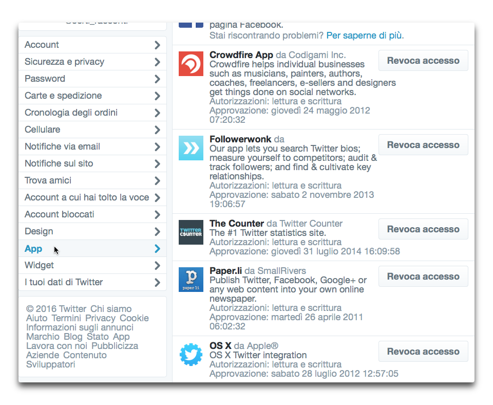 app accesso a twitter
