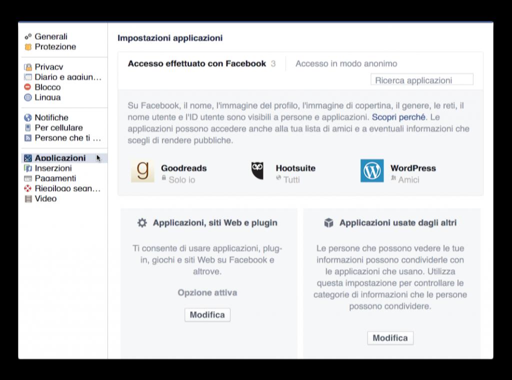accesso app a facebook