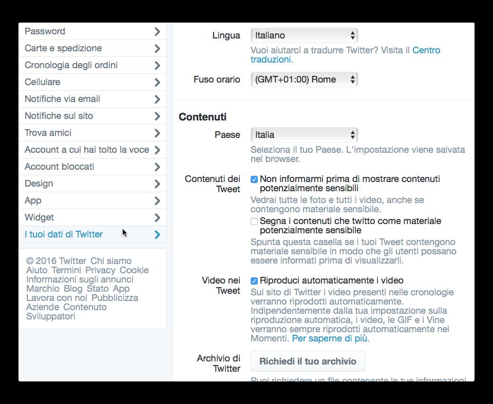 dati personali twitter
