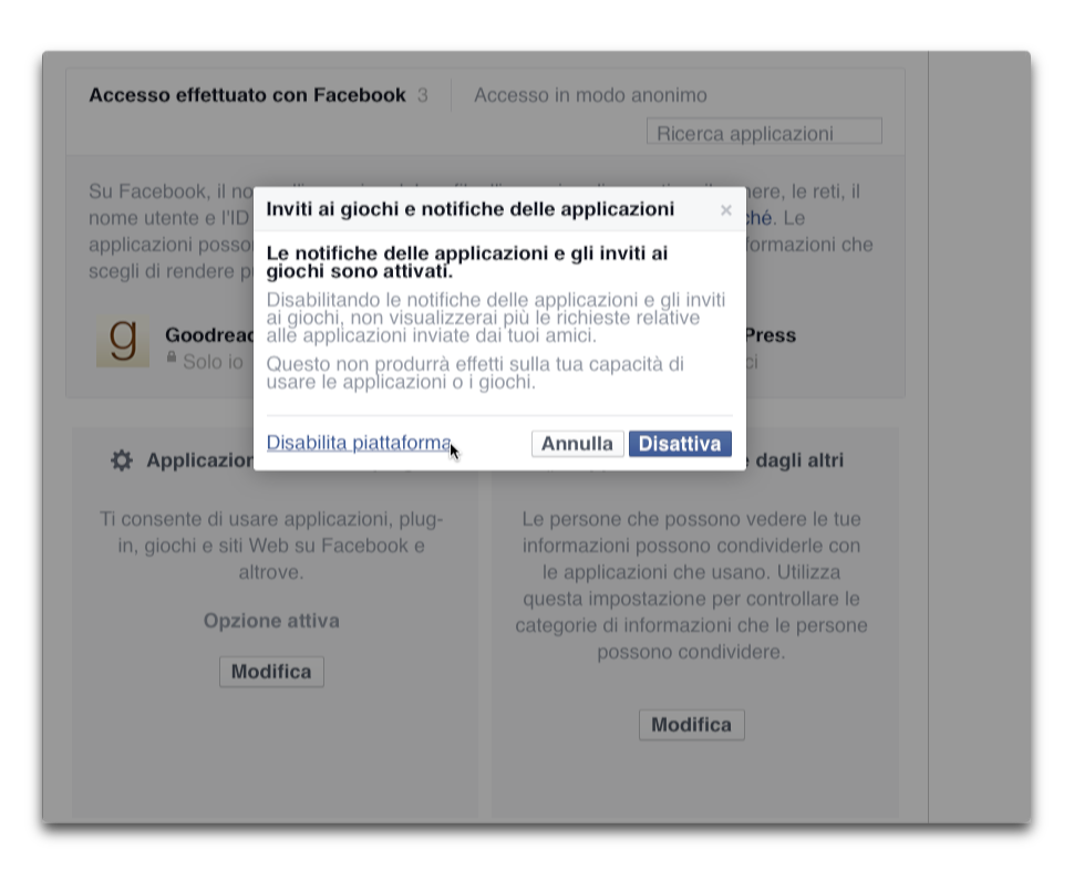 facebook - disabilita piattaforma