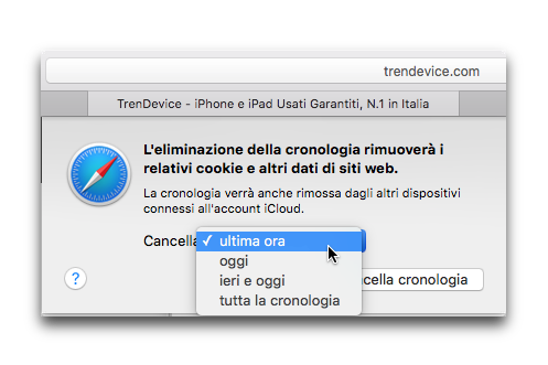 eliminare cookie e cronologia safari