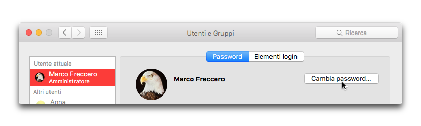 cambia password osx