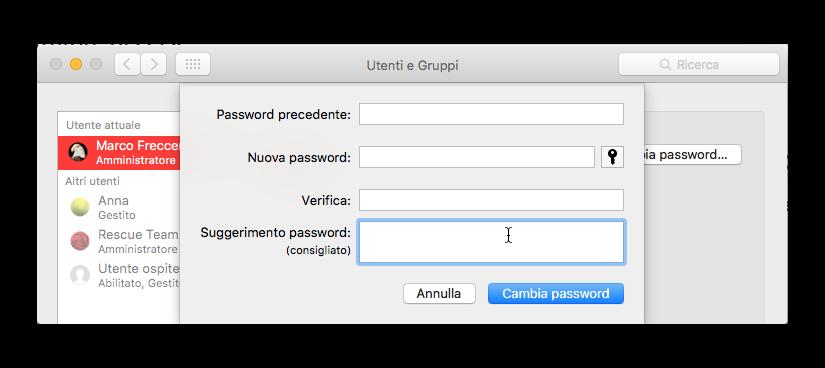 modifica password amministratore