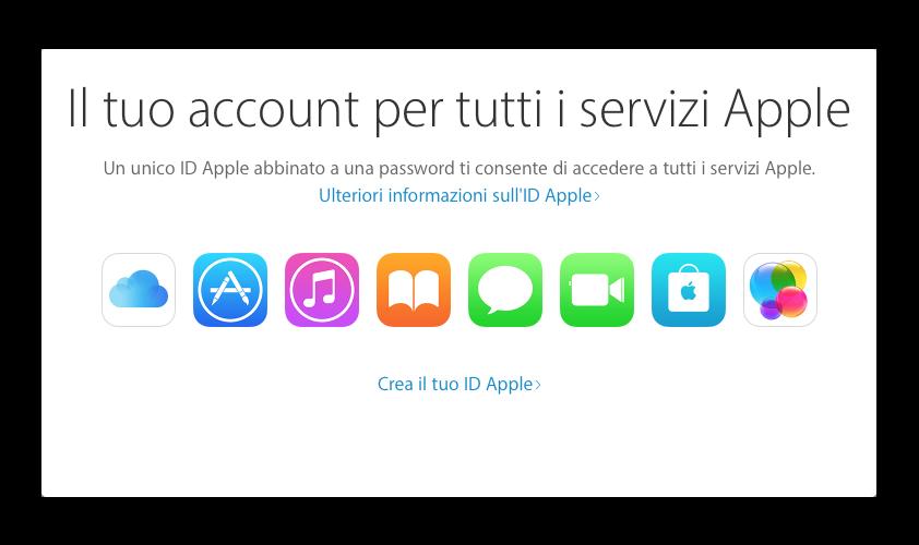 apple id schermata