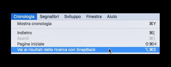 la funzione snapback