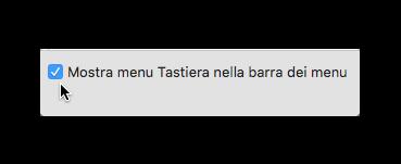 mostra menu tastiera