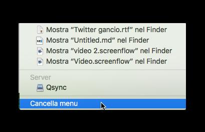 cancella menu