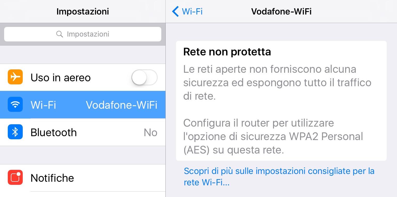 wi-fi non protetta