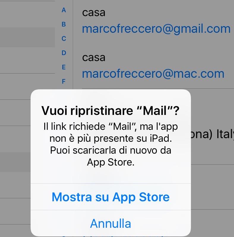 reinstallare mail