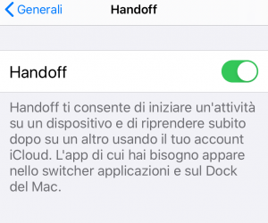 handoff su iPhone