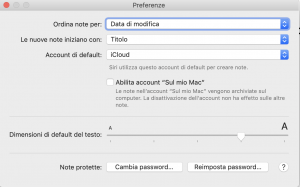 modificare dimensione font in note