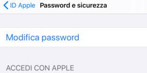 modifica password id apple