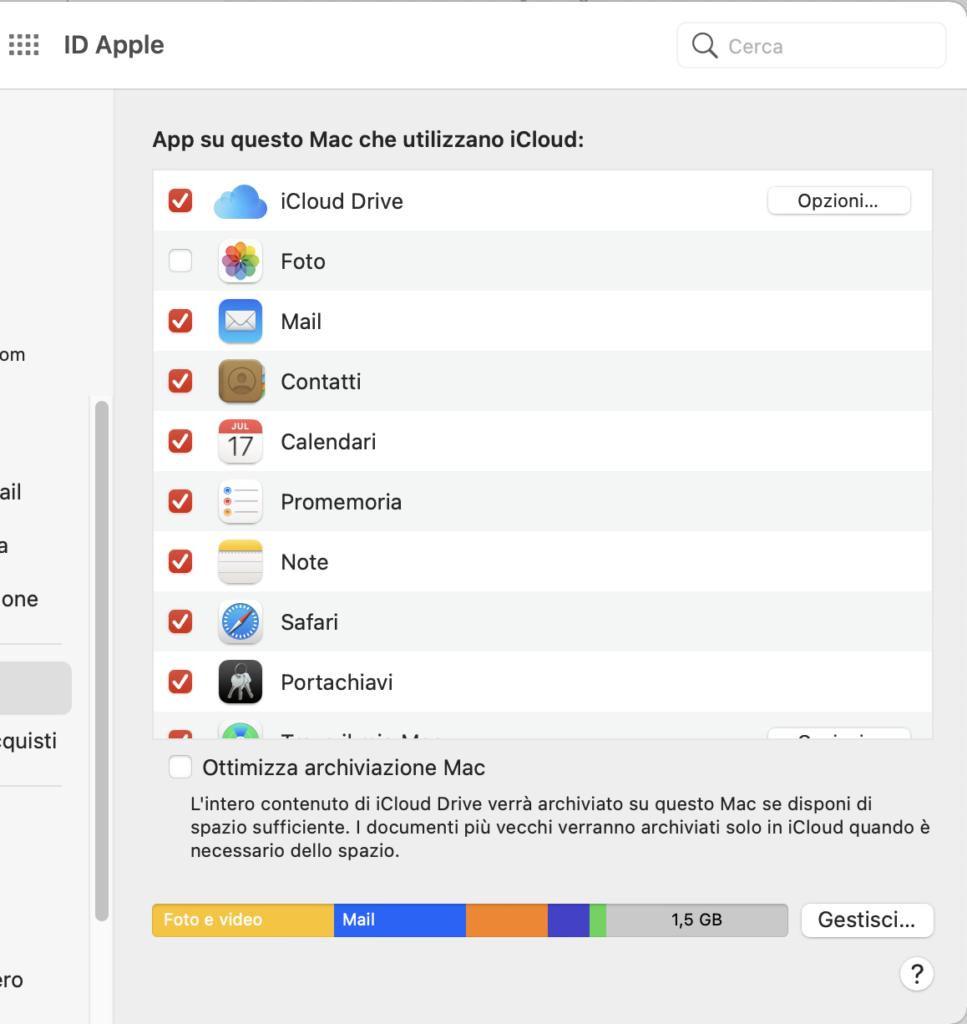 ottimizza archiviazione Mac